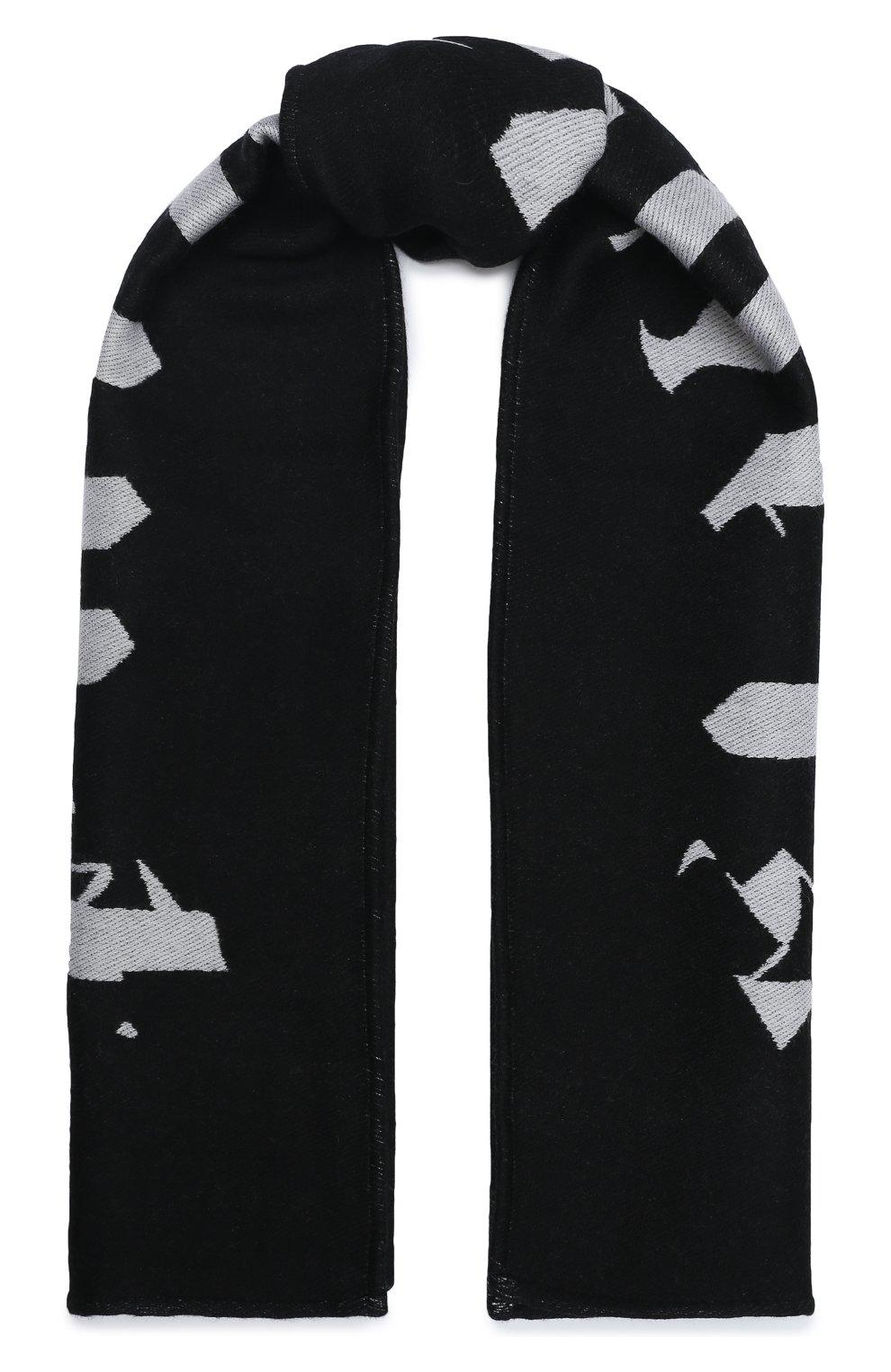 Мужской шарф из шерсти и хлопка PALM ANGELS черно-белого цвета, арт. PMMA019F20KNI0041001   Фото 1