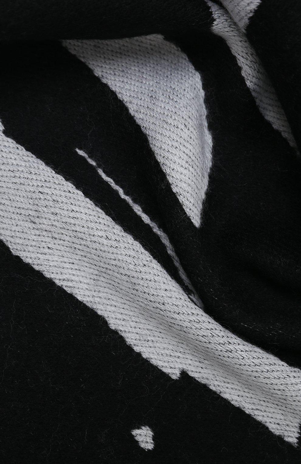 Мужской шарф из шерсти и хлопка PALM ANGELS черно-белого цвета, арт. PMMA019F20KNI0041001   Фото 2