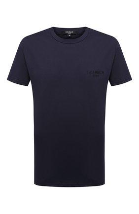 Мужские хлопковая футболка BALMAIN темно-синего цвета, арт. BRM305060   Фото 1