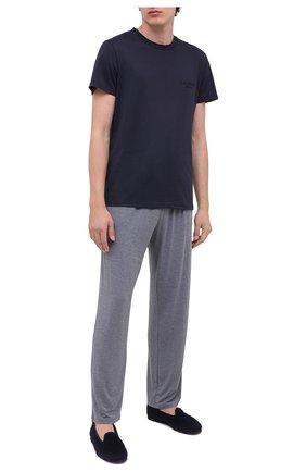Мужские хлопковая футболка BALMAIN темно-синего цвета, арт. BRM305060   Фото 2