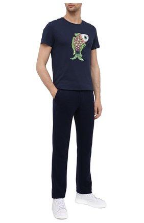 Мужская хлопковая футболка VILEBREQUIN темно-синего цвета, арт. TAOU0P04/390   Фото 2