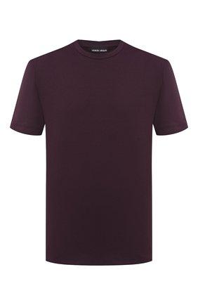 Мужская хлопковая футболка GIORGIO ARMANI бордового цвета, арт. 3HSM75/SJMCZ | Фото 1