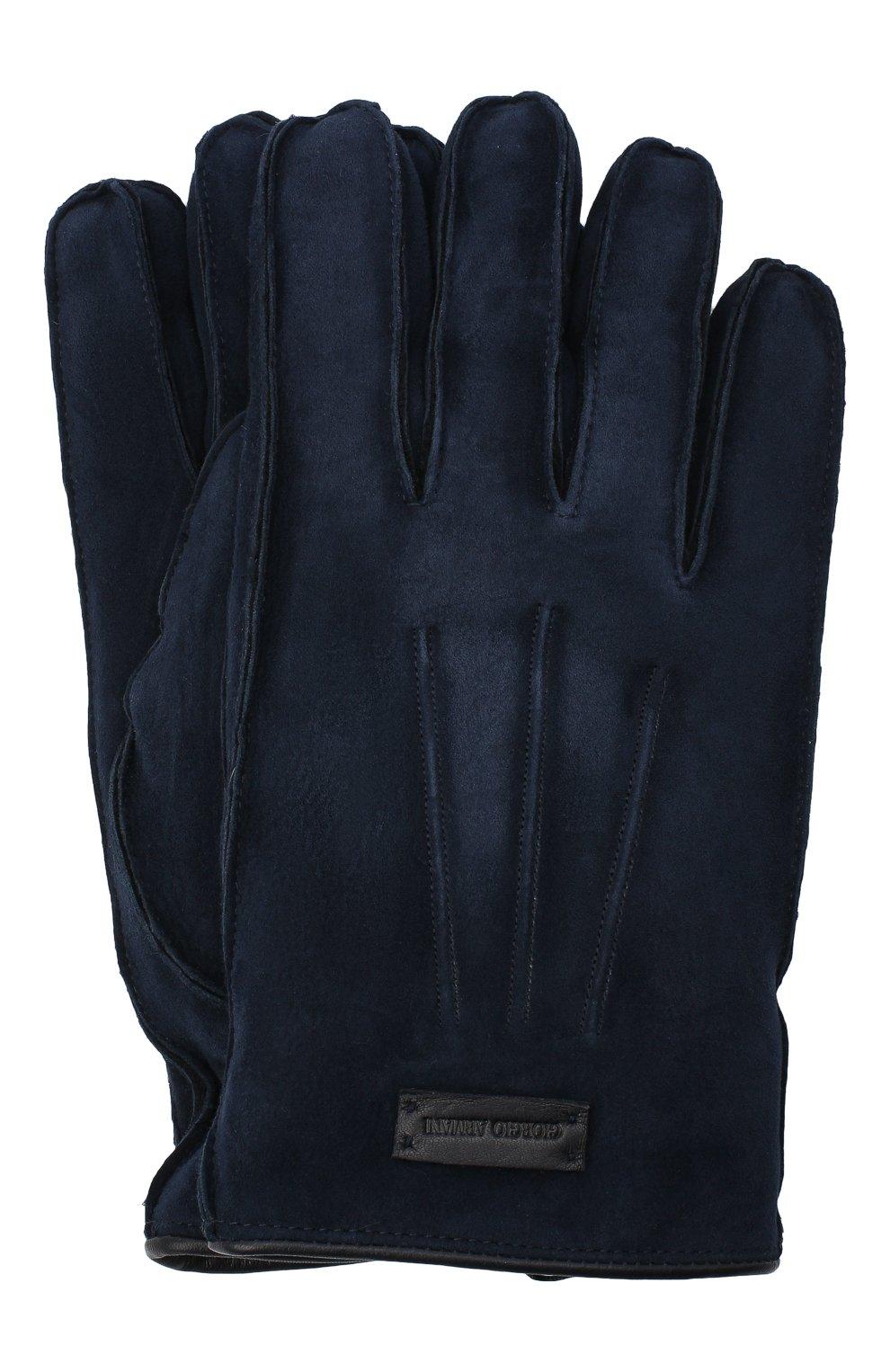 Мужские замшевые перчатки GIORGIO ARMANI темно-синего цвета, арт. 744149/0A209 | Фото 1