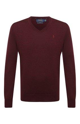Мужской шерстяной пуловер POLO RALPH LAUREN бордового цвета, арт. 710714347 | Фото 1