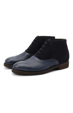 Мужские комбинированные ботинки MORESCHI темно-синего цвета, арт. 43556/162/DURANG0/F.NAPPA | Фото 1