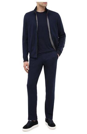 Мужской брюки из хлопка и кашемира CAPOBIANCO темно-синего цвета, арт. 9M722.LB00. | Фото 2