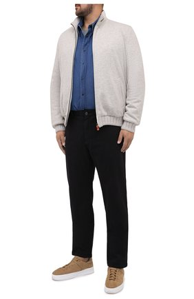 Мужская хлопковая футболка BRIONI серого цвета, арт. UJCH0L/09626 | Фото 2 (Длина (для топов): Стандартные; Материал внешний: Хлопок; Мужское Кросс-КТ: Футболка-одежда; Принт: Без принта; Стили: Кэжуэл; Рукава: Короткие)