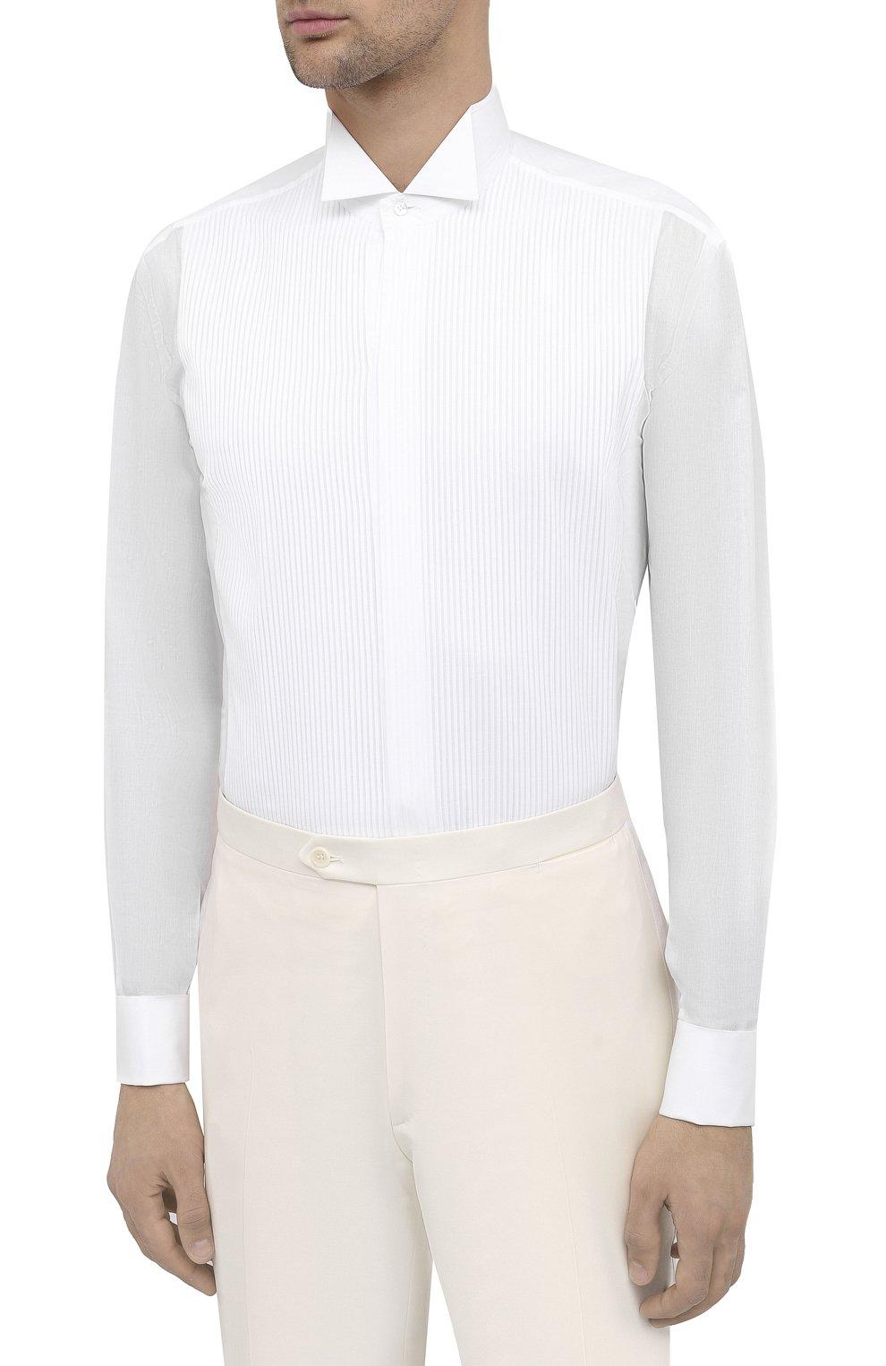 Мужская хлопковая сорочка BRIONI белого цвета, арт. RCX10M/0Z022 | Фото 3