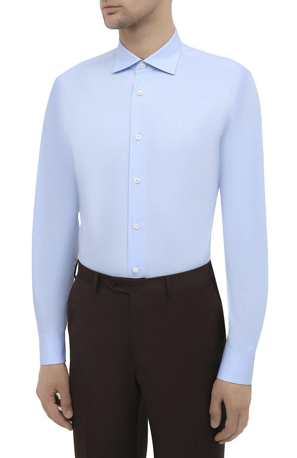 Мужская хлопковая сорочка BRIONI голубого цвета, арт. RCT10L/090C9   Фото 3