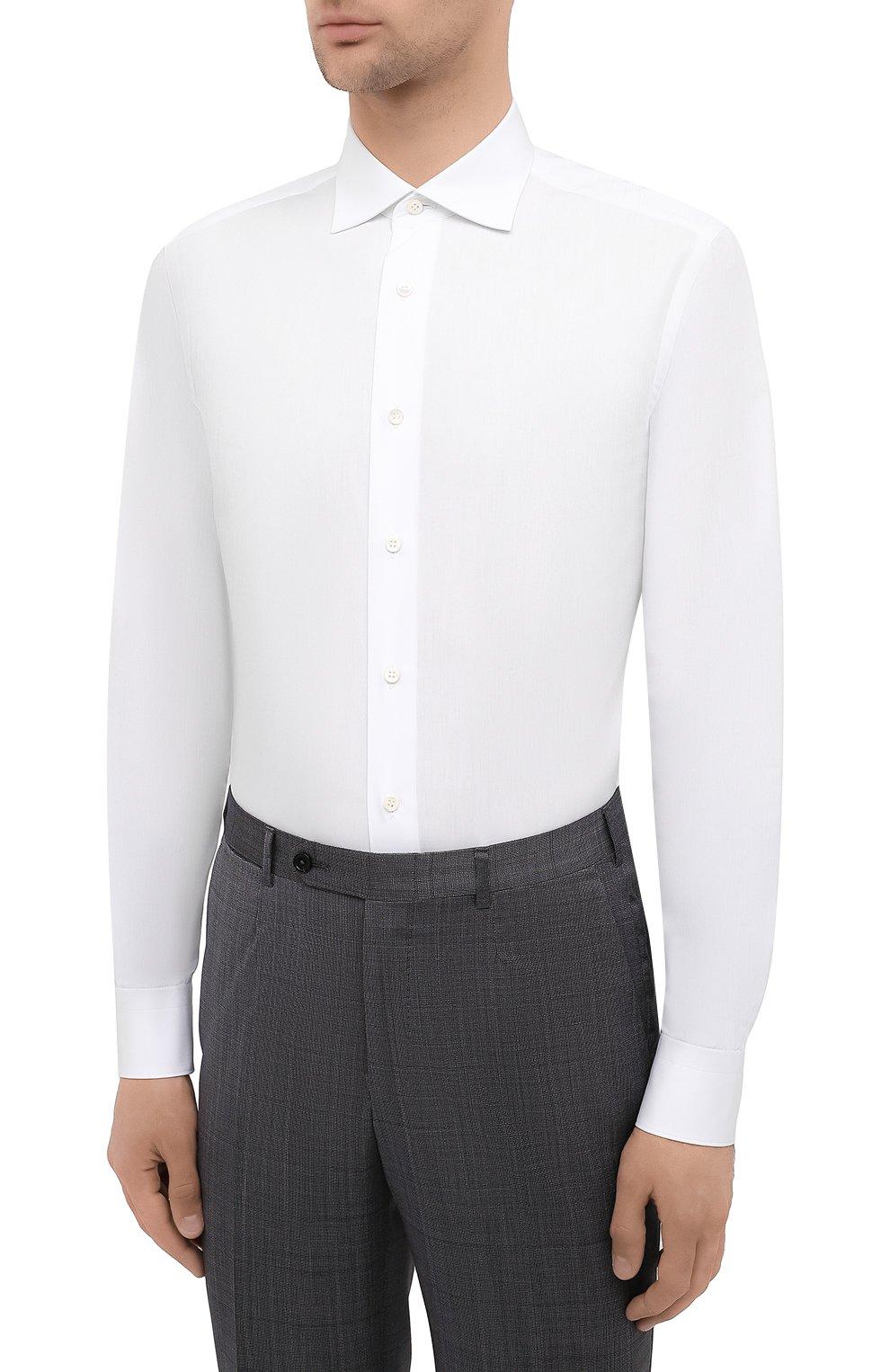 Мужская хлопковая сорочка BRIONI белого цвета, арт. RCT10L/090C9   Фото 3
