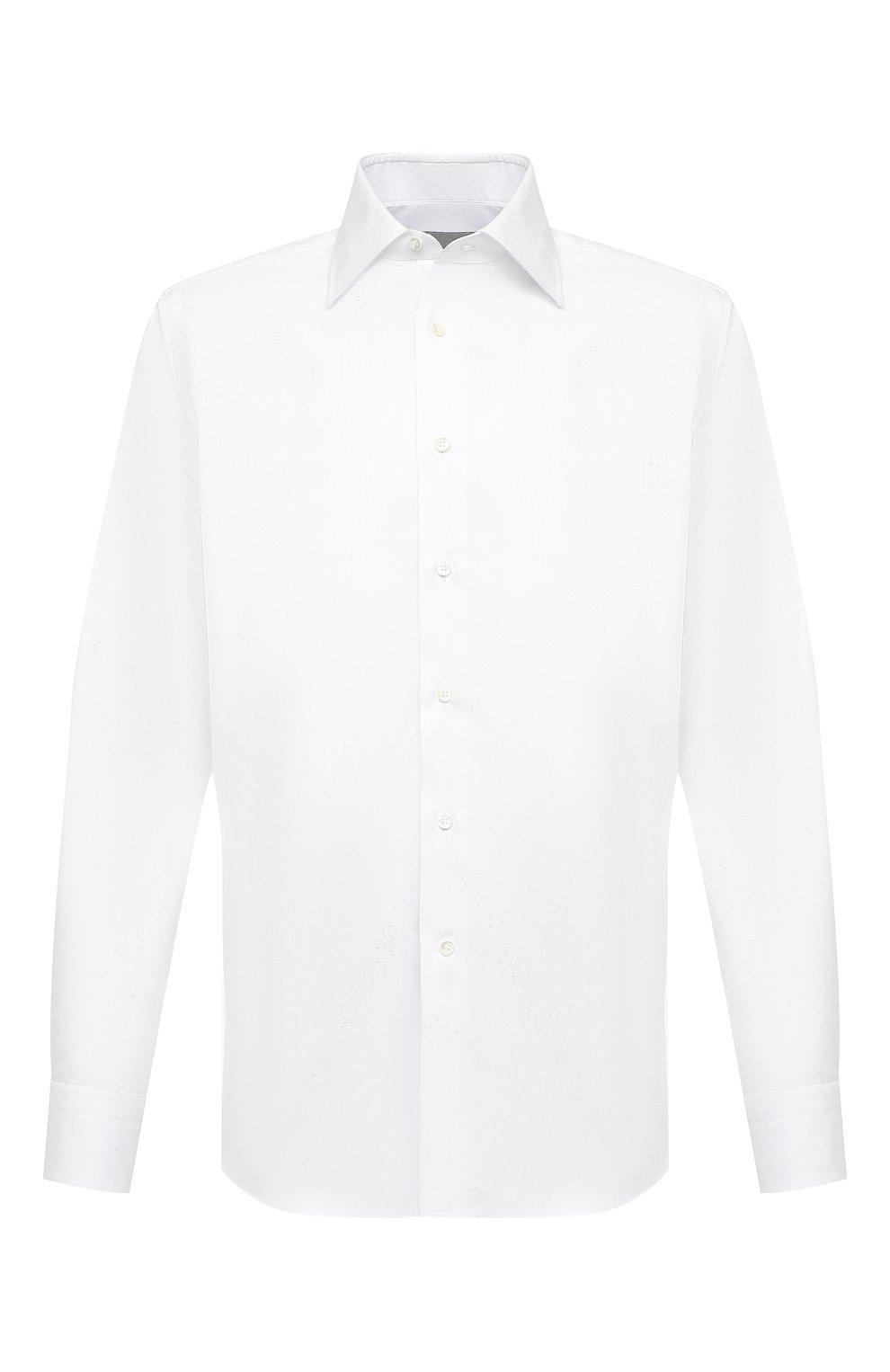 Мужская хлопковая сорочка CANALI белого цвета, арт. 705/GA00109   Фото 1