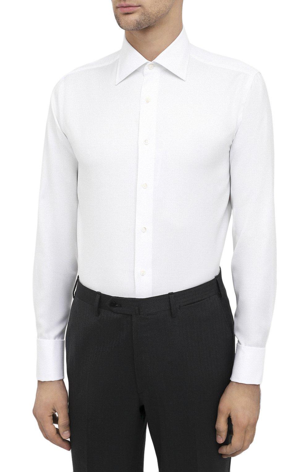 Мужская хлопковая сорочка CANALI белого цвета, арт. N705/GR01926/P | Фото 3