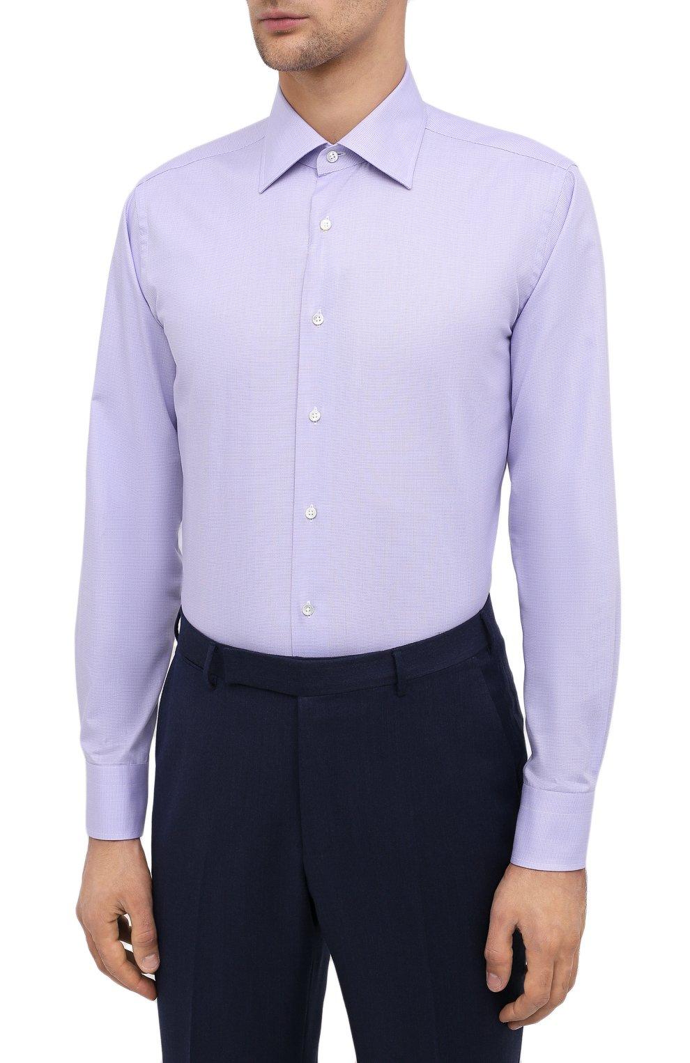 Мужская хлопковая сорочка CANALI фиолетового цвета, арт. 705/GA00327 | Фото 3