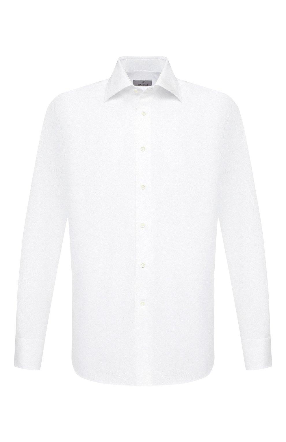 Мужская хлопковая сорочка CANALI белого цвета, арт. 705/GA00094   Фото 1