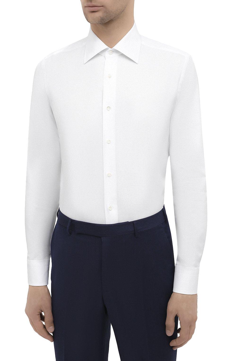 Мужская хлопковая сорочка CANALI белого цвета, арт. 705/GA00094   Фото 3