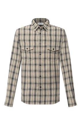 Мужская рубашка из вискозы SAINT LAURENT бежевого цвета, арт. 604792/Y00SA | Фото 1 (Материал внешний: Вискоза; Рукава: Длинные; Длина (для топов): Стандартные; Стили: Кэжуэл, Бохо; Случай: Повседневный; Принт: Клетка; Мужское Кросс-КТ: Рубашка-одежда; Манжеты: На пуговицах; Воротник: Кент)