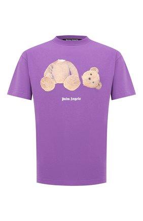Мужская хлопковая футболка PALM ANGELS фиолетового цвета, арт. PMAA001E20JER0033760 | Фото 1