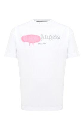 Мужская хлопковая футболка PALM ANGELS белого цвета, арт. PMAA001F20JER0130130 | Фото 1
