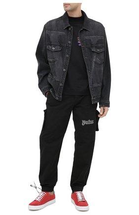 Мужской хлопковые джоггеры PALM ANGELS черного цвета, арт. PMCA078E20FAB0021001 | Фото 2