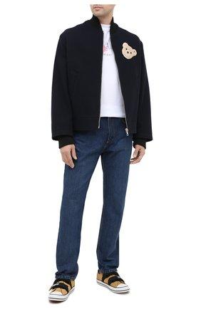 Мужская куртка из шерсти и хлопка PALM ANGELS темно-синего цвета, арт. PMEA118E20FAB0014560 | Фото 2