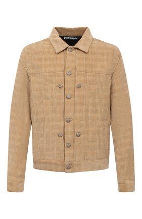 Мужская хлопковая куртка PALM ANGELS светло-коричневого цвета, арт. PMEA138E20DEN0016225 | Фото 1