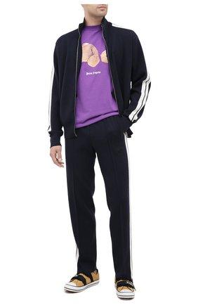 Мужской брюки из кашемира и шерсти PALM ANGELS темно-синего цвета, арт. PMHG004E20KNI0014610 | Фото 2