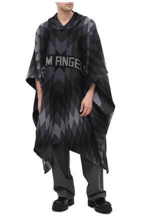 Мужская шерстяное пончо PALM ANGELS темно-серого цвета, арт. PMHN001F20KNI0011008 | Фото 2