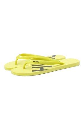 Мужские шлепанцы HUGO желтого цвета, арт. 50428696   Фото 1