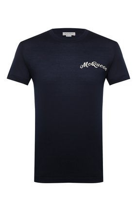 Мужская хлопковая футболка ALEXANDER MCQUEEN темно-синего цвета, арт. 624180/QPX01 | Фото 1