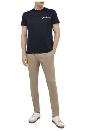 Мужская хлопковая футболка ALEXANDER MCQUEEN темно-синего цвета, арт. 624180/QPX01 | Фото 2