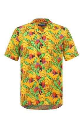 Мужская рубашка из хлопка и льна VILEBREQUIN желтого цвета, арт. HARU0U14/118 | Фото 1