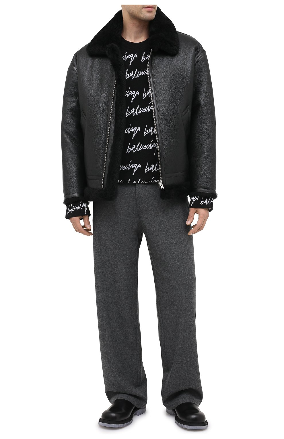 Мужская дубленка VETEMENTS черного цвета, арт. UAH21JA017 2403/M   Фото 2