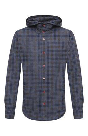 Мужская хлопковая рубашка KITON синего цвета, арт. UMCMARH0748510 | Фото 1
