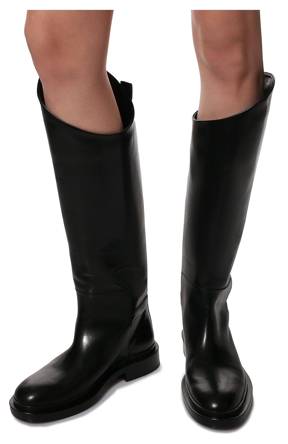Женские кожаные сапоги JIL SANDER черного цвета, арт. JS35043A-12004 | Фото 3