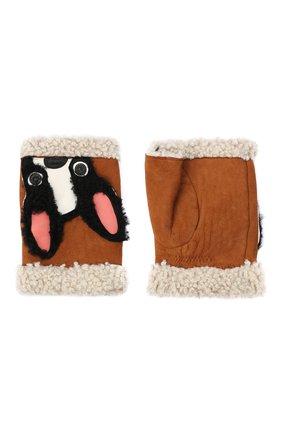 Женские замшевые митенки с аппликацией AGNELLE коричневого цвета, арт. MITAINE_D0G | Фото 2