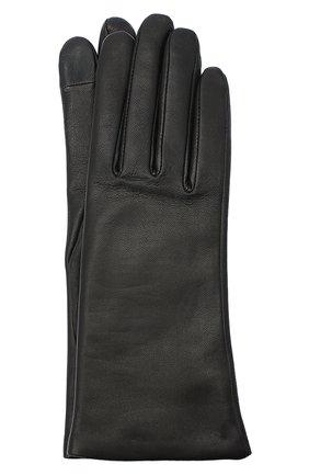 Женские кожаные перчатки AGNELLE черного цвета, арт. INES/A | Фото 1