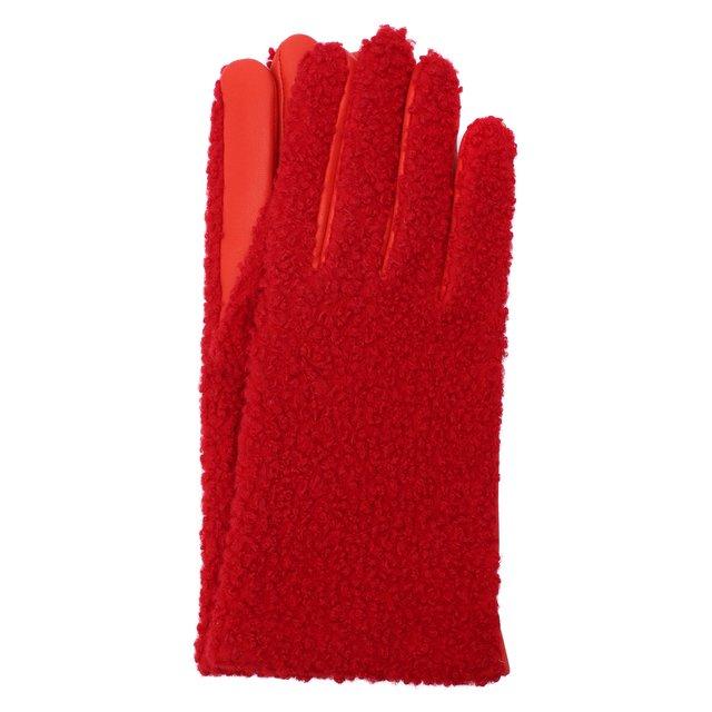 Кожаные перчатки с отделкой мехом Agnelle