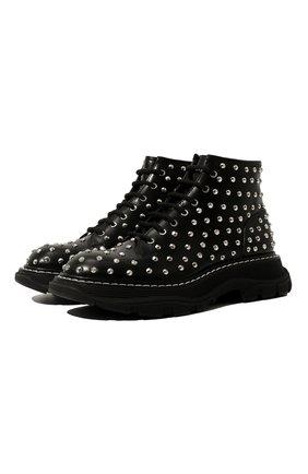 Женские кожаные ботинки ALEXANDER MCQUEEN черного цвета, арт. 595470/WHZ81 | Фото 1