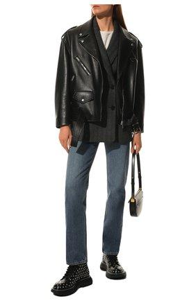 Женские кожаные ботинки ALEXANDER MCQUEEN черного цвета, арт. 595470/WHZ81 | Фото 2