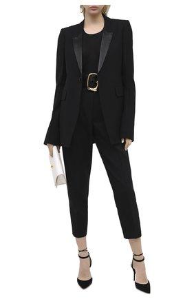 Женские брюки из шерсти и шелка ALEXANDER MCQUEEN черного цвета, арт. 632744/QJAAA | Фото 2