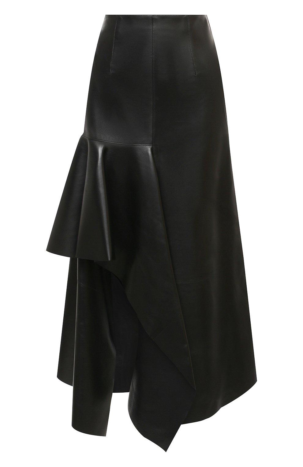 Женская кожаная юбка ALEXANDER MCQUEEN черного цвета, арт. 633556/Q5AEF   Фото 1