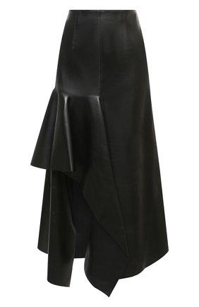 Женская кожаная юбка ALEXANDER MCQUEEN черного цвета, арт. 633556/Q5AEF | Фото 1