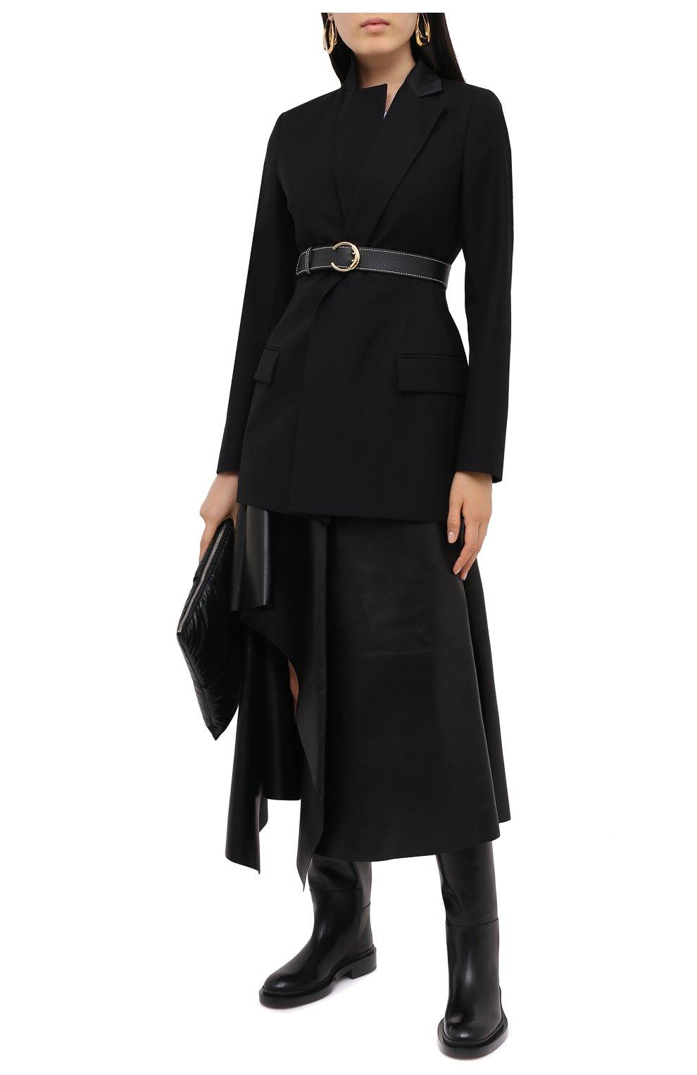 Женская кожаная юбка ALEXANDER MCQUEEN черного цвета, арт. 633556/Q5AEF   Фото 2
