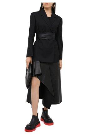 Женская кожаная юбка ALEXANDER MCQUEEN черного цвета, арт. 633556/Q5AEF   Фото 3
