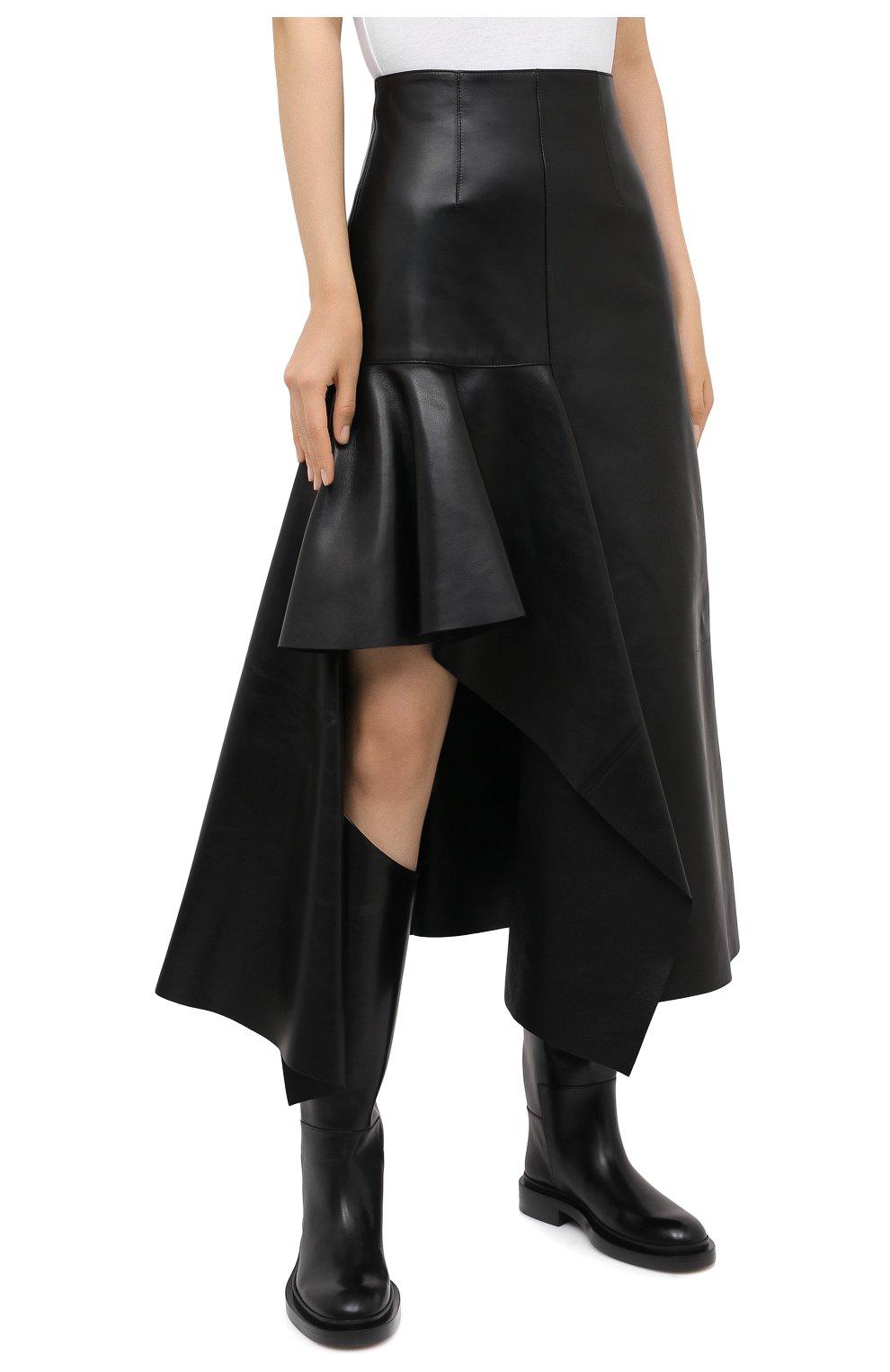 Женская кожаная юбка ALEXANDER MCQUEEN черного цвета, арт. 633556/Q5AEF   Фото 4