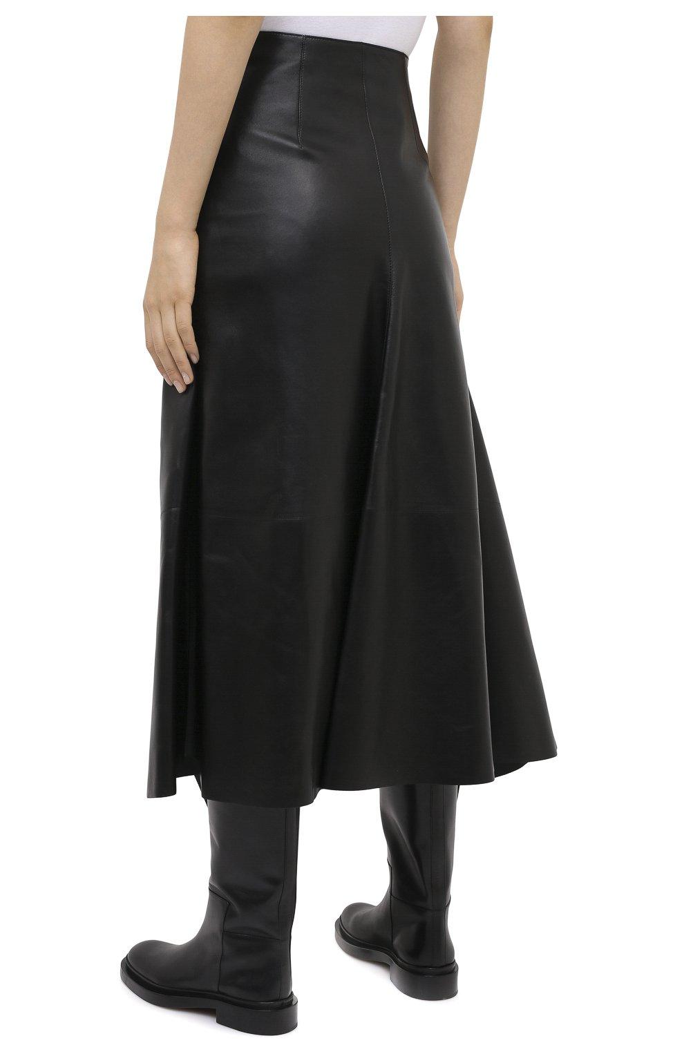 Женская кожаная юбка ALEXANDER MCQUEEN черного цвета, арт. 633556/Q5AEF   Фото 5