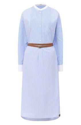 Женское хлопковое платье LOEWE голубого цвета, арт. S359335XC1 | Фото 1
