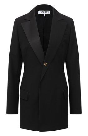 Женский жакет из шерсти и хлопка LOEWE черного цвета, арт. S359330X45 | Фото 1
