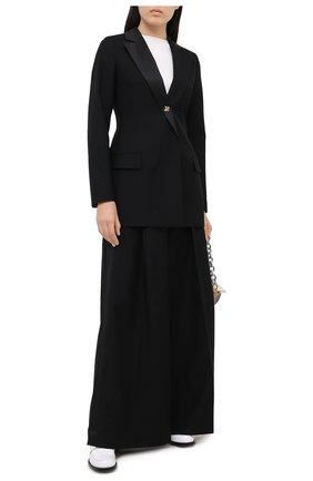 Женский жакет из шерсти и хлопка LOEWE черного цвета, арт. S359330X45 | Фото 2