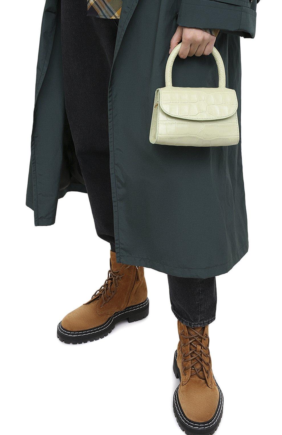 Женская сумка mini BY FAR светло-зеленого цвета, арт. 18FWMINASGDSMA | Фото 2 (Сумки-технические: Сумки через плечо, Сумки top-handle; Материал: Натуральная кожа; Размер: mini; Ремень/цепочка: На ремешке)